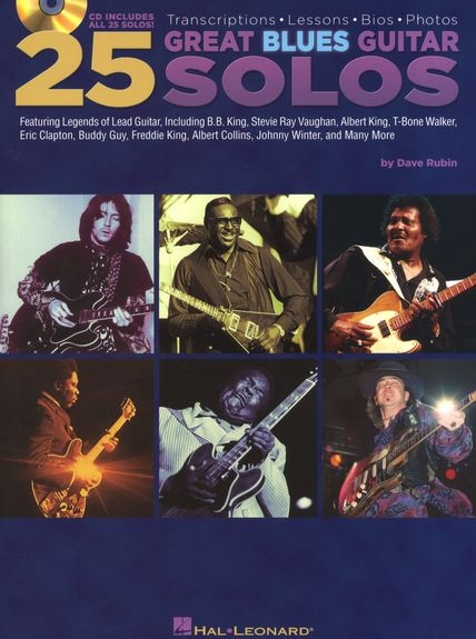 No brand 25 GREAT BLUES GUITAR SOLOS WITH TAB GUITAR BOOK/CD
