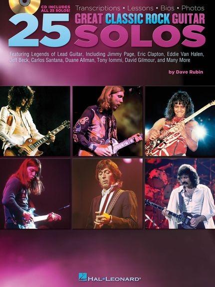No brand 25 GREAT CLASSIC ROCK GUITAR SOLOS TRANSCRIPTIONS GTR BK/CD