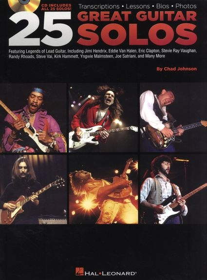 No brand 25 GREAT GUITAR SOLOS TRANSCRIPTIONS LESSONS BIOS PHOTOS TAB BK/CD