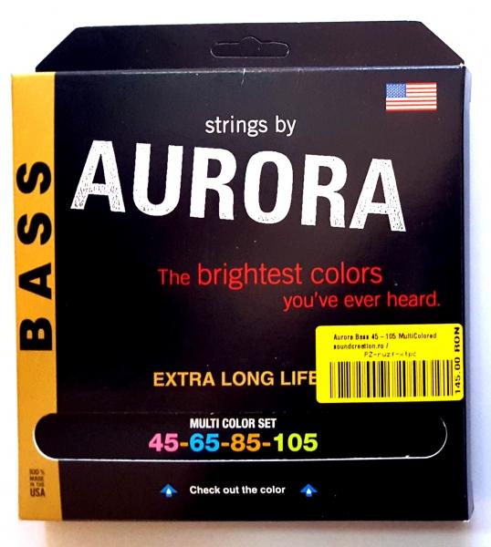 Set de corzi pentru chitara bass cu 4 corzi Aurora Bass 45-105 MultiColored