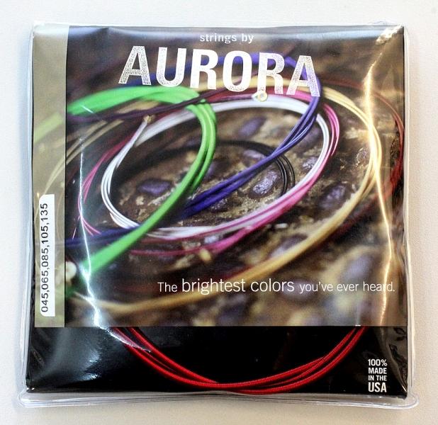 Set corzi pentru chitara bass electric cu 5 corzi Aurora Custom Bass 45-135 Red