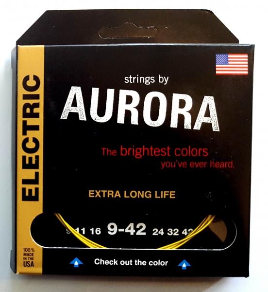 Set de corzi chitara electrica Aurora Electric 9-42 Yellow