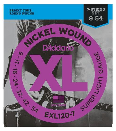 Set de corzi pentru chitara electrica cu 7 corzi Daddario EXL120-7 Nickel Wound Super Light