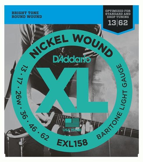 Set de corzi pentru chitara electrica bariton Daddario EXL158 Baritone Light 13-62