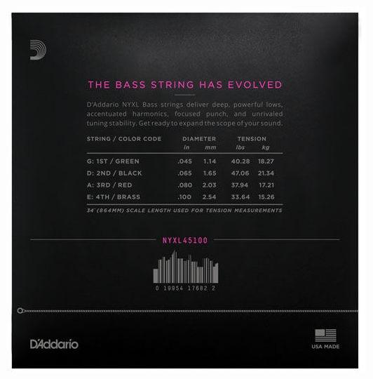 Set de corzi pentru chitara bass Daddario NYXL45100