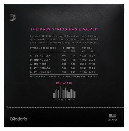 Set corzi bass 5 D addario NYXL45130