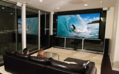 Ecran de proiectie electric incastrabil in tavan Elitescreens Evanesce Tab-Tension Series 202cm x 126cm