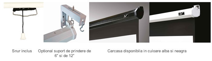 Ecran de proiectie de perete/tavan retractabil cu actionare manuala Elitescreens M100UWH