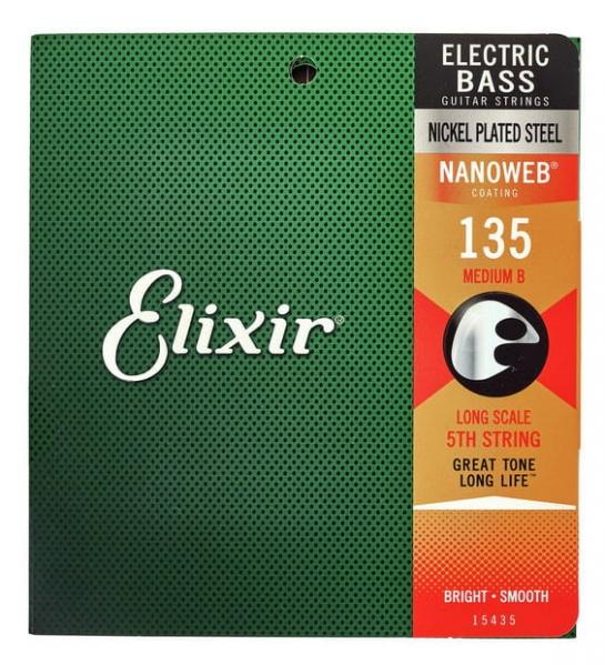 Elixir Nanoweb Bass 135L Single 5th Medium