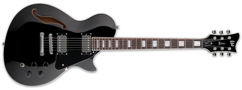 Chitara electrica semi-hollow body cu 6 corzi ESP LTD XTone PS-1 Bk