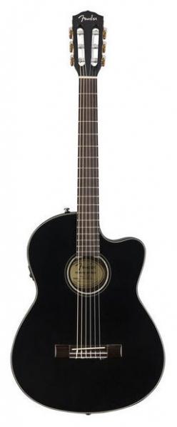 Chitara electro-clasica hibrid Fender CN-140SCE Nylon BK W/Case