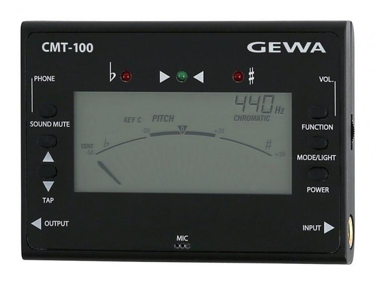 Tuner (acordor) cromatic digital cu generator de ton si metronom Gewa CMT-100