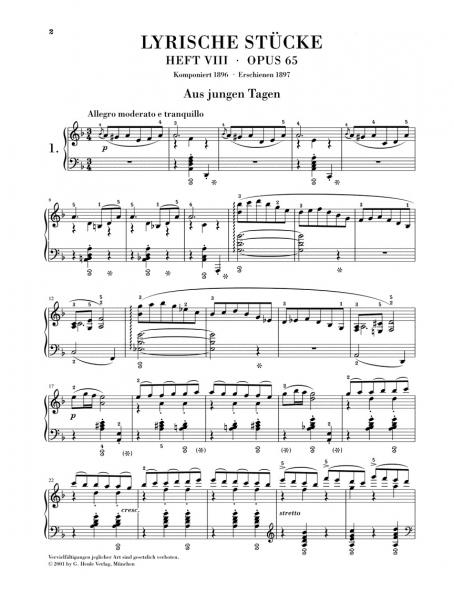 No brand Lyric Pieces - Volume VIII Op.65