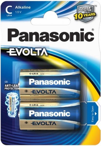 Baterii alkaline de tip C de 1.5V Panasonic Evolta C (R14)