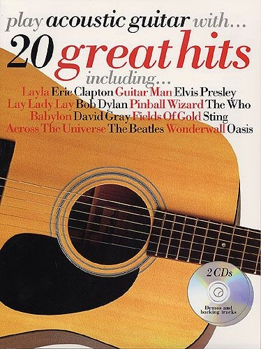 No brand PLAY ACOUSTIC GUITAR WITH 20 GREAT HITS AGTR TAB BOOK/2CDS